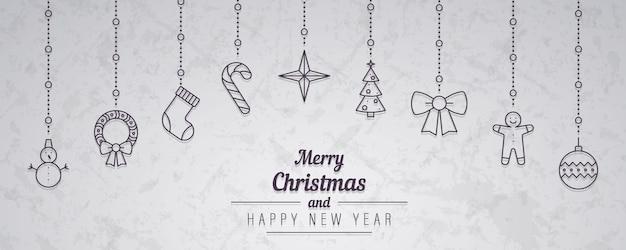 Schöne hängende weihnachtsdekorationen mit wünschen.