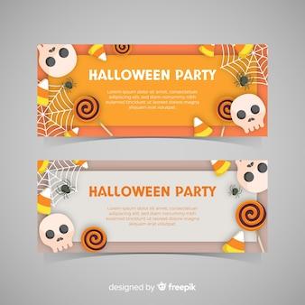 Schöne halloween-banner mit flachem design
