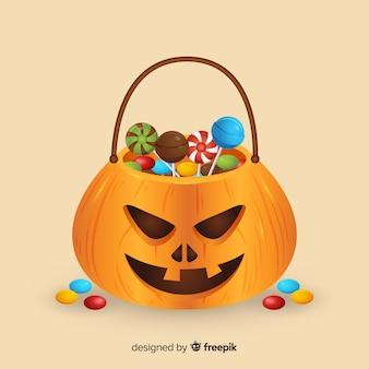 Schöne halloween candy tasche mit realistischem design