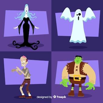 Schöne halloween-charakter-kollektion mit flachem design