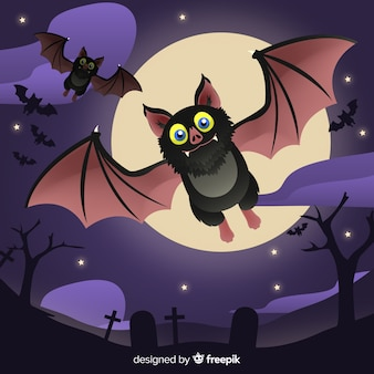 Schöne halloween fledermaus mit flachem design