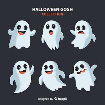 Schöne halloween geist sammlung mit flachem design