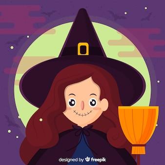 Schöne halloween hexe hintergrund