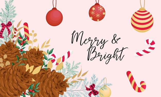 Schöne hand, die florales hintergrunddesign der frohen weihnachten zeichnet