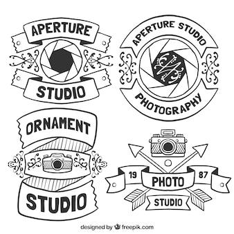 Schöne hand gezeichnet logos für fotostudios
