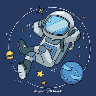 Schöne hand gezeichnete astronaut charakter