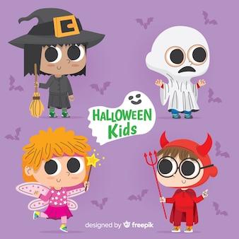 Schöne hand gezeichnete halloween-kinder