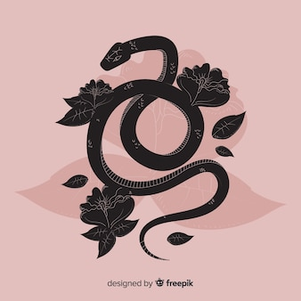 Schöne hand gezeichnete schlange mit blumen