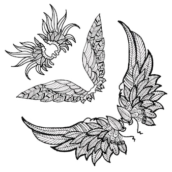 Schöne hand gezeichnete schwarzweiss-flügel-sammlung
