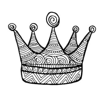 Schöne hand gezeichnete schwarzweiss-krone