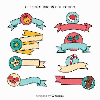 Schöne hand gezeichnete weihnachtsbandsammlung