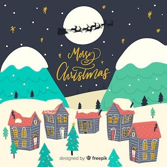 Schöne hand gezeichnete weihnachtsstadt