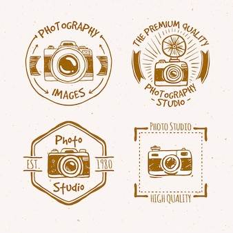 Schöne hand vintage etiketten der fotografie gezeichnet