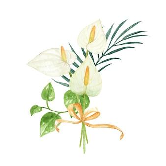Schöne handgemalte aquarell calla lilie anordnung