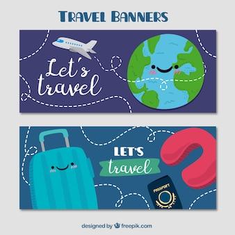 Schöne handgemalte reise-banner