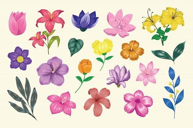 Schöne handgezeichnete blumenkollektion der weinlese