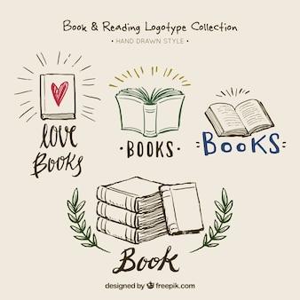 Schöne handgezeichnete buch logos