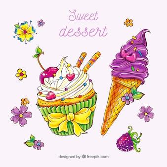 Schöne handgezeichnete desserts