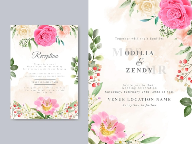 Schöne handgezeichnete hochzeitseinladungskartenschablone mit rosa rosendesign
