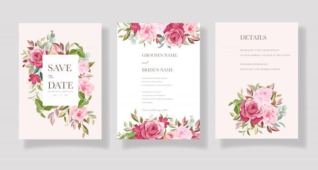 Schöne handgezeichnete hochzeitskartenschablone mit burgunder und rosa blumenrahmen und randdekoration