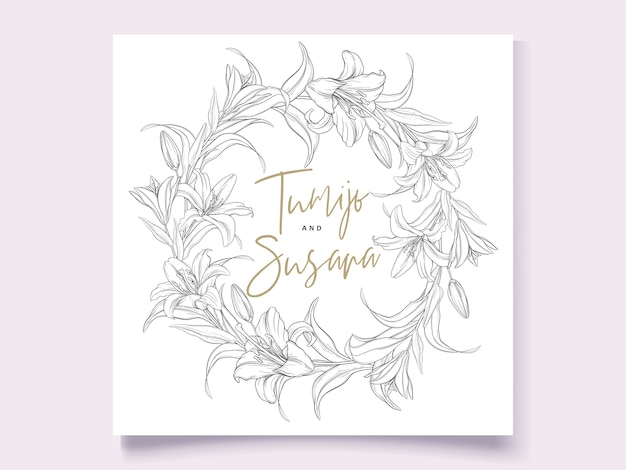 Schöne handgezeichnete kranzlilienblumen