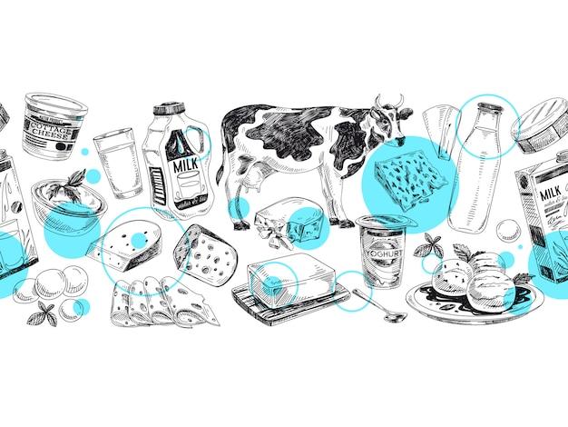 Schöne handgezeichnete milchprodukte illustration.