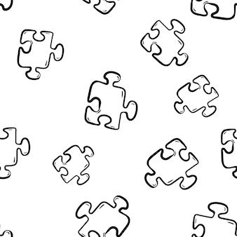 Schöne handgezeichnete mode nahtlose muster puzzle-symbol. handgezeichnete schwarze skizze. zeichen / symbol / gekritzel. isoliert auf weißem hintergrund. flaches design. vektor-illustration.