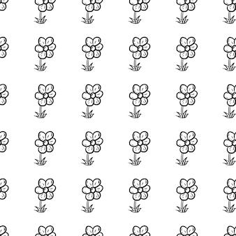 Schöne handgezeichnete nahtlose muster mode blumensymbol. handgezeichnete schwarze skizze. zeichen / symbol / gekritzel. isoliert auf weißem hintergrund. flaches design. vektor-illustration.