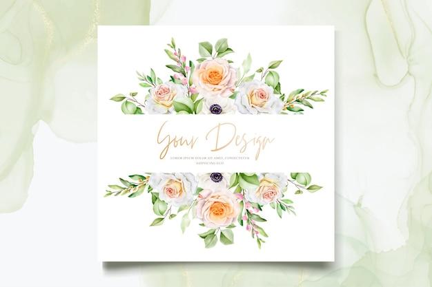 Schöne handgezeichnete rosen hochzeitseinladungskartenset