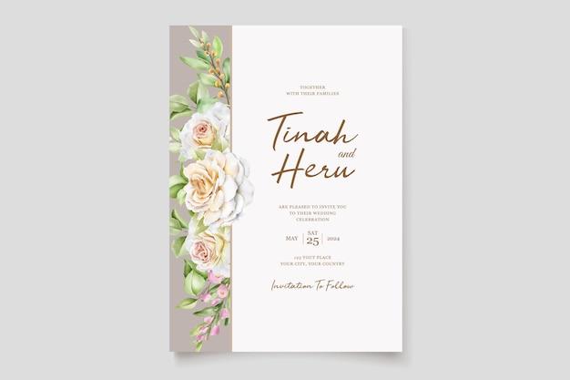 Schöne handgezeichnete rosen hochzeitseinladungskartenset Kostenlosen Vektoren
