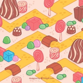 Schöne handgezeichnete süßigkeiten land