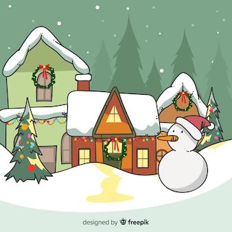 Schöne handgezeichnete weihnachtsstadt
