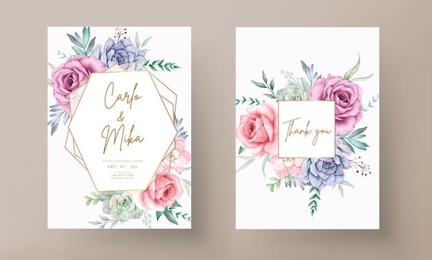 Schöne handzeichnung aquarell sukkulente und rosenblume hochzeitseinladungsschablone