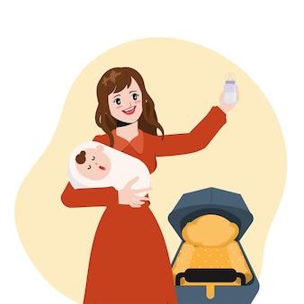 Schöne hausfrau füttert babyillustrationsvektor-cartoon-animationsdesign