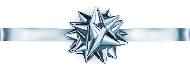 Schöne hellblaue glänzende schleife mit horizontalem band mit schatten
