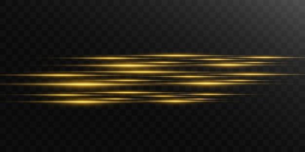 Schöne helle horizontale fackel. goldene blendung helle streifen auf einem dunklen hintergrund. gelbe strahlen.