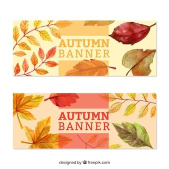 Schöne herbst banner mit wasserfarben gemalt