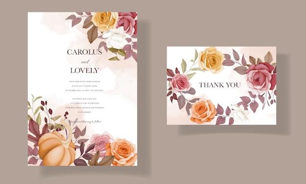 Schöne herbstherbstblume und verlässt hochzeitseinladungskartenset
