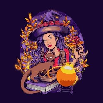Schöne hexe mit einem fuchs