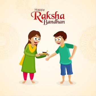 Schöne hintergrund der glücklichen geschwister für raksha bandhan fest