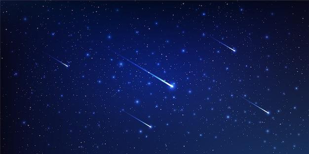 Schöne hintergrundgalaxienillustration mit kometen und sternenstaub und hellen leuchtenden sternen, die den raum beleuchten