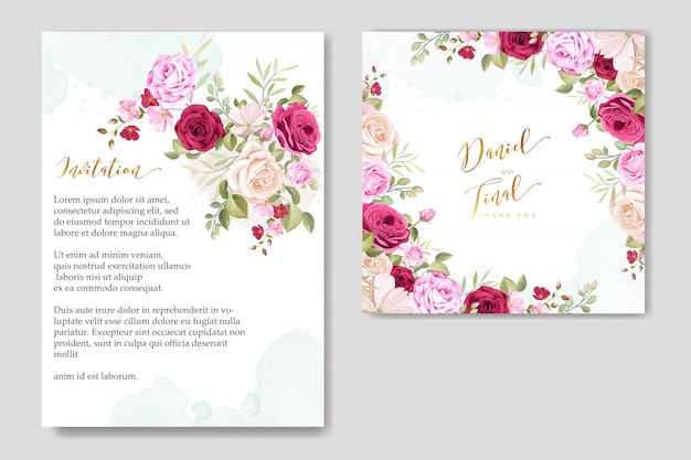 Schöne hochzeit karte floral frame vorlage