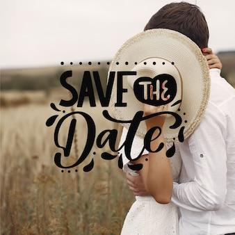 Schöne hochzeit retten das datum mit foto