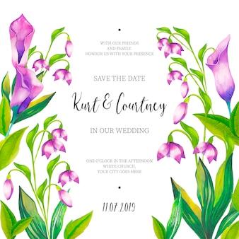Schöne hochzeits-einladung mit aquarellblumen