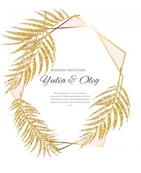 Schöne hochzeits-einladung mit palme-blatt-schattenbild