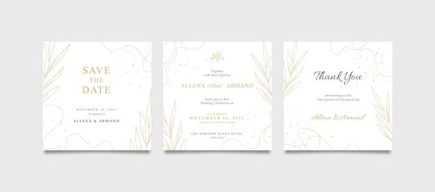 Schöne hochzeitseinladung des luxusgoldes und des weißen quadrats