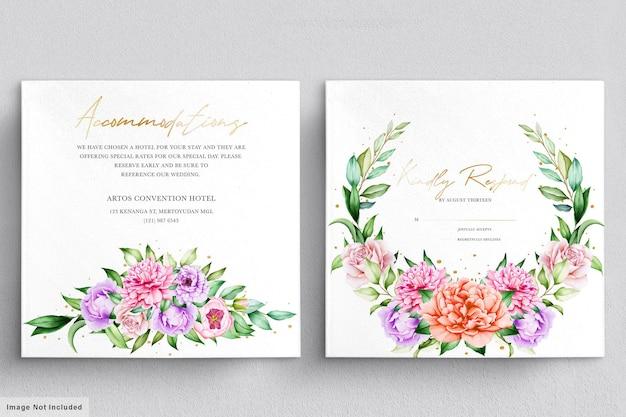 Schöne hochzeitseinladung mit aquarellblumen gesetzt