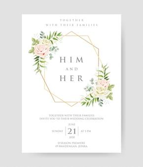 Schöne hochzeitseinladung mit geometrischem goldrahmen und rosen verzweigt sich dekorativer kranz u. rahmenmuster.