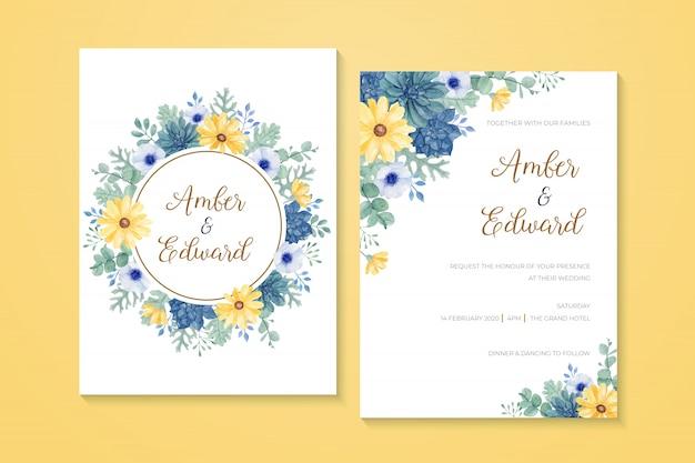 Schöne hochzeitseinladung mit handgemaltem gelbem gänseblümchen des aquarells, sukkulente, anemone, eukalyptus, staubiger müller
