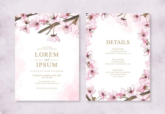 Schöne hochzeitseinladung mit handgemalter aquarell-kirschblüte